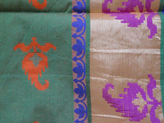 Banarasee/Banarasee Pure Handloom Silk Cotton Dhakai With Resham Jaal-Orange