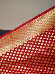 Banarasee Art Silk Dupatta With Polka Dot Design-Red