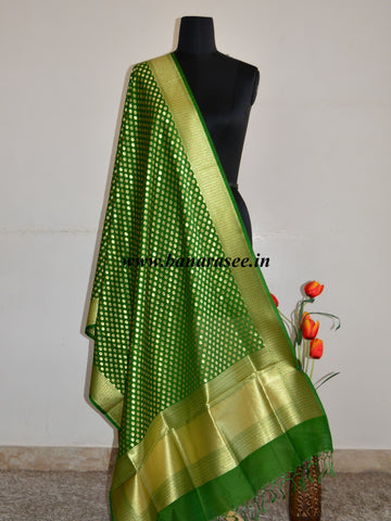 Banarasee Art Silk Dupatta With Polka Dot Design-Green