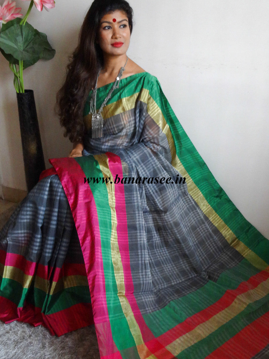 a great variety of models full range of specifications discount collection Banarasee/Banarasi Cotton Silk Mix Sari With Contrast Skirt Border-Grey
