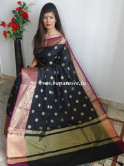 Banarasee/Banarasee Art Silk Sari With Broad Floral Border & Zari Buti Design-Black