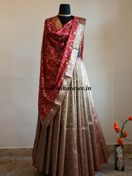 Banarasee/Banarasi Handwoven Brocade Unstitched Lehenga Fabric with Contrast Chiffon Dupatta-Red