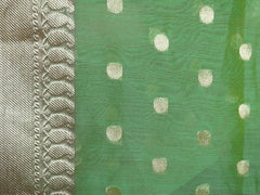 Banarasee Chanderi Cotton Zari Polka Dots With Skirt Border - Green