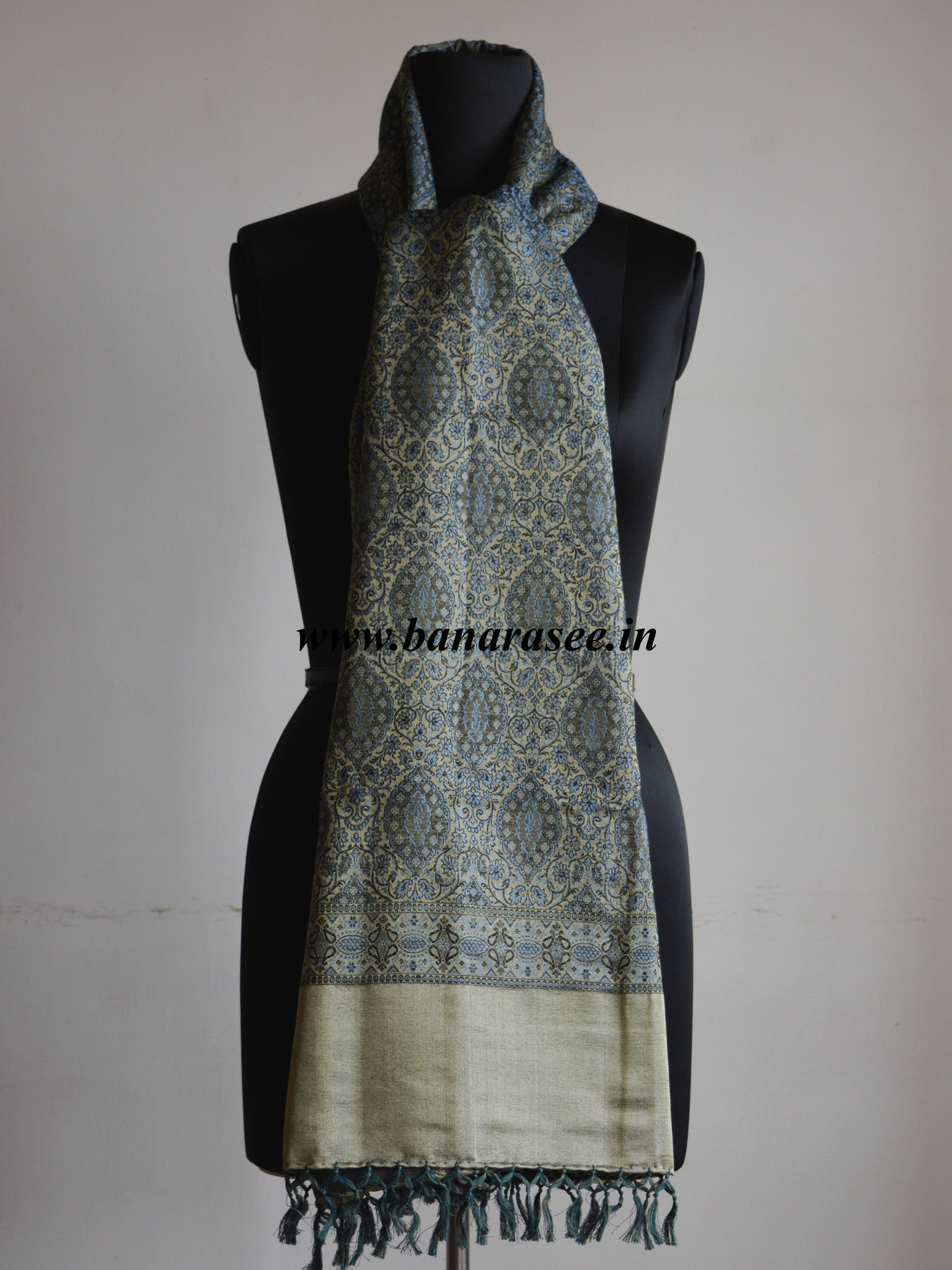 Banarasee/Banarasi Silk Wool Handloom With Mustard Resham Weaving Stole-Grey