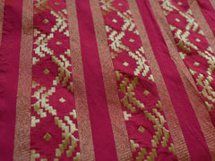 Banarasee Handwoven Art Silk Unstitched Lehenga & Blouse Fabric With Meena Work -Bright Peach
