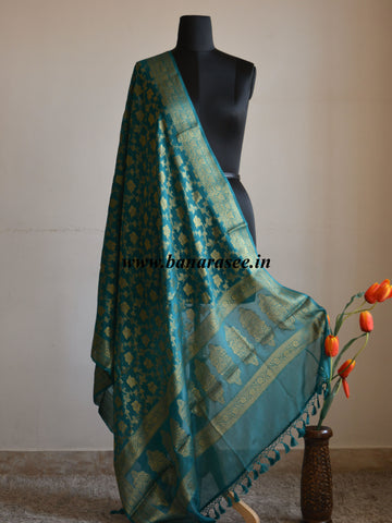 Banarasi/ Banarasee Handwoven Pure Chiffon Dupatta Jaal Design In Antique Gold Zari-Green