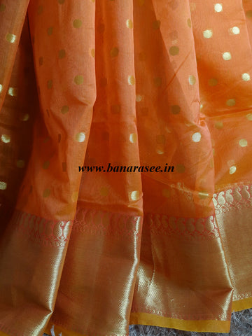 Banarasee Chanderi Cotton Zari Polka Dots With Skirt Border - Orange