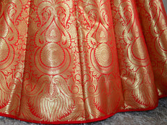 Banarasee/Banarasi Handwoven Art Silk Unstitched Lehenga & Blouse Fabric-Crimson Red