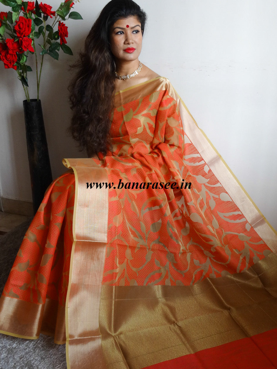Banarasee/Banarasi Organza Mix Saree With Floral Jaal Design & Zari Border-Red