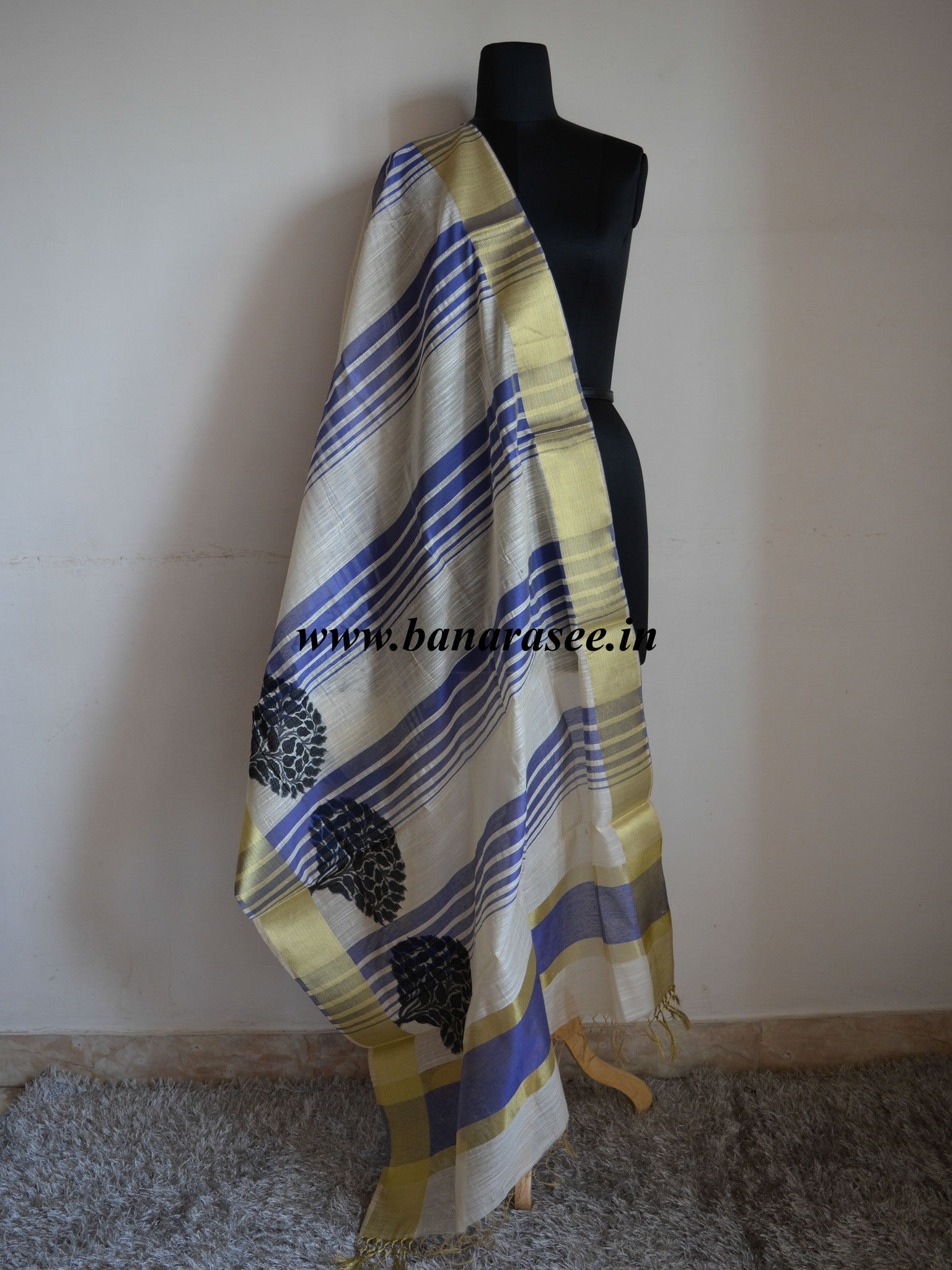 Banarasi Cotton Silk Blend Dupatta Banyan Buta Design Blue Stripes-White