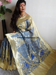 Handwoven Net Zari Saree With Big Temple Border-Blue
