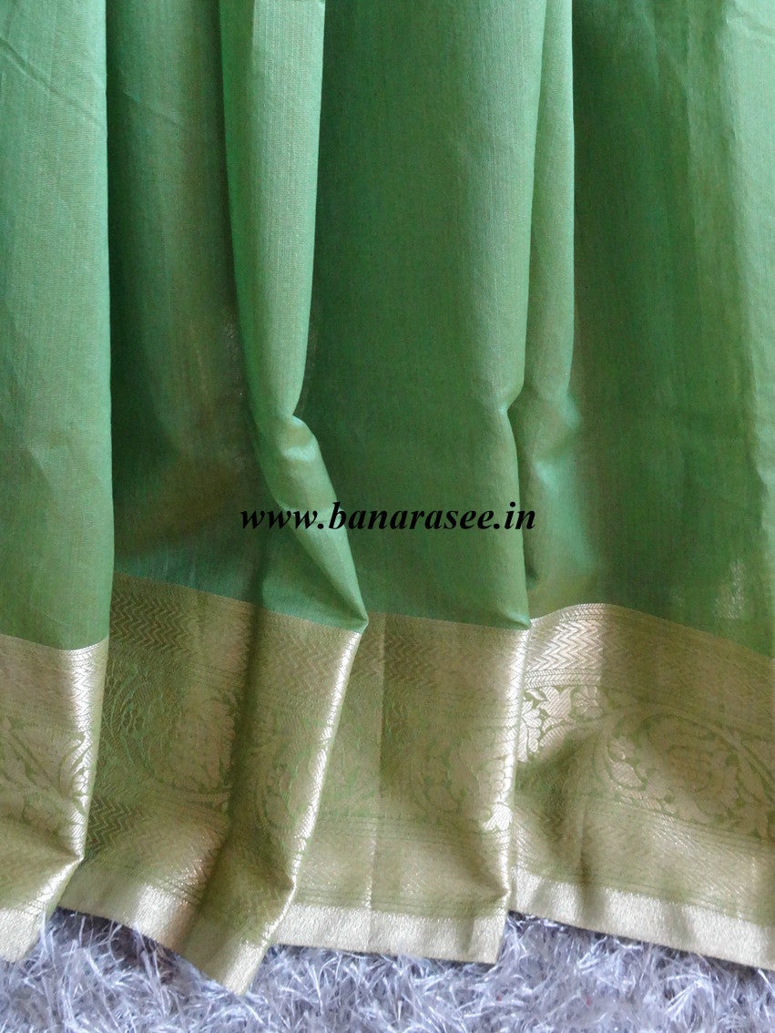 Banarasee/Banarasi Cotton Silk Saree With Floral Zari Woven Border-Green