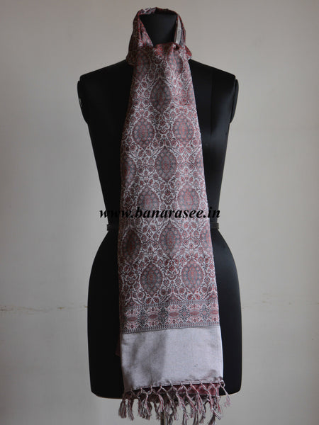 Banarasee/Banarasi Silk Wool Handloom With Red Resham Weaving Stole-Grey