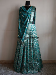 Banarasee/Banarasi Handwoven Brocade Unstitched Lehenga Fabric with Chiffon Dupatta-Green