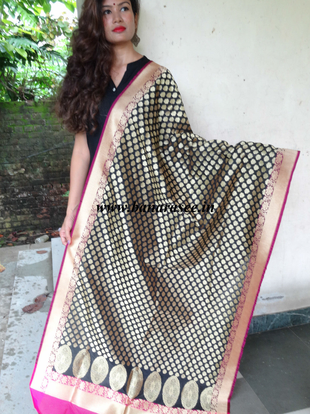 Banarasi Art Silk Dupatta Small Buti-Black