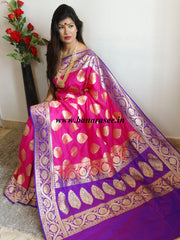 Banarasee Handwoven Georgette Silk Saree With Big Buta and Floral Border Design-Magenta