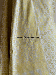 Banarasee/Banarasi Salwar Kameez Cotton Silk Gold Zari Floral Jaal Woven Fabric-Off White