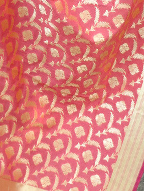 Art Silk Dupatta Jangla Pattern-Peach