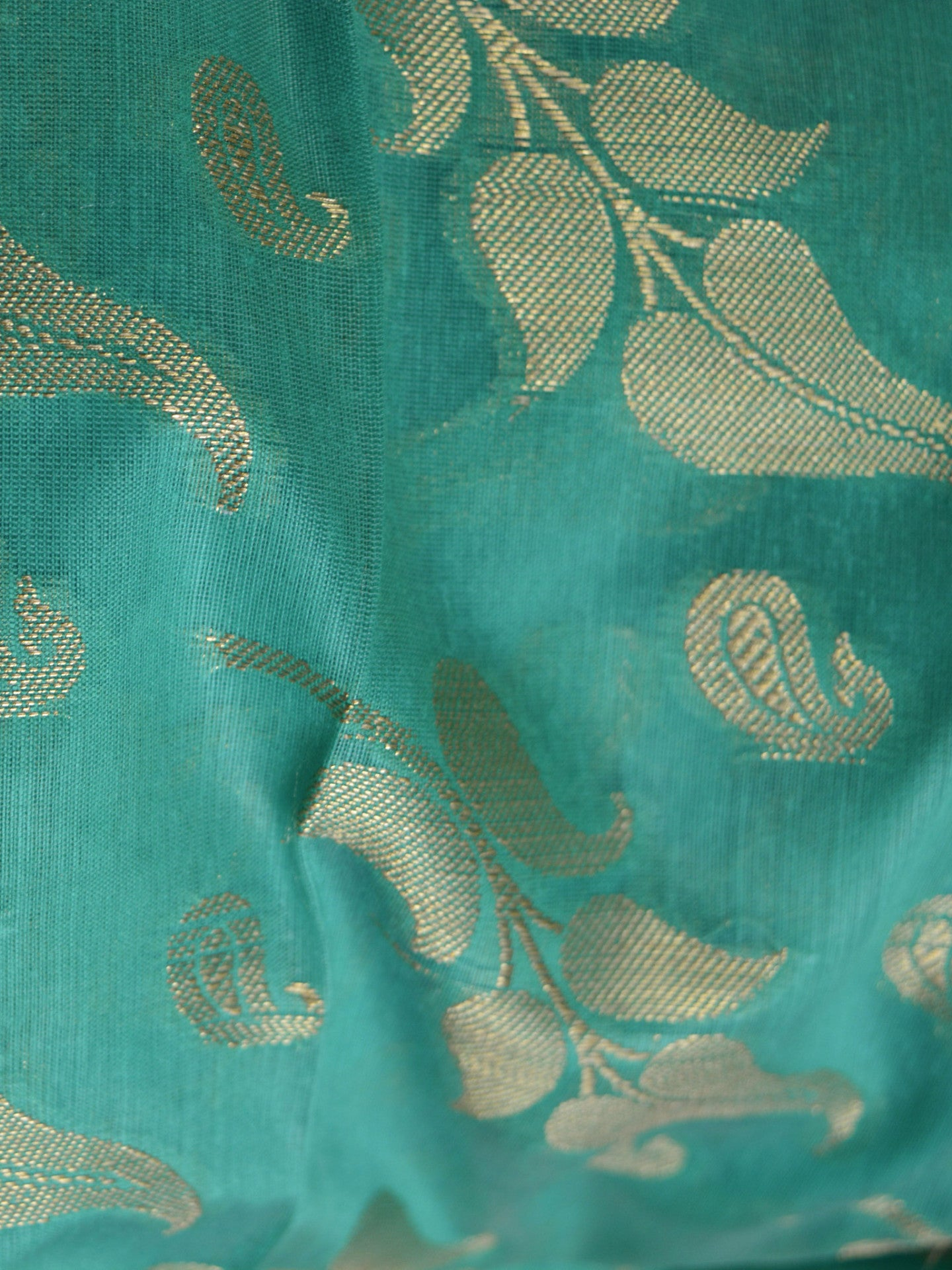 Banarasee/Banarasi Salwar Kameez Cotton Silk Gold Zari Leaf Buti Woven Fabric-Green