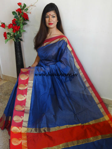 Banarasee Cotton Silk Saree With Contrast Peacock Red Resham Border-Deep Blue