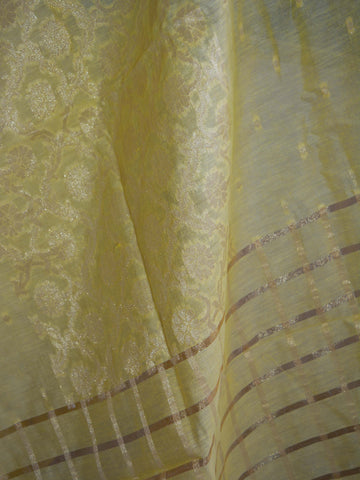 Banarasee/ Banarasi Cotton Silk Mix Zari Work Dupatta-Lemon Yellow