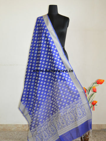 Banarasee/ Banarasi Cotton Resham Work Dupatta-Blue