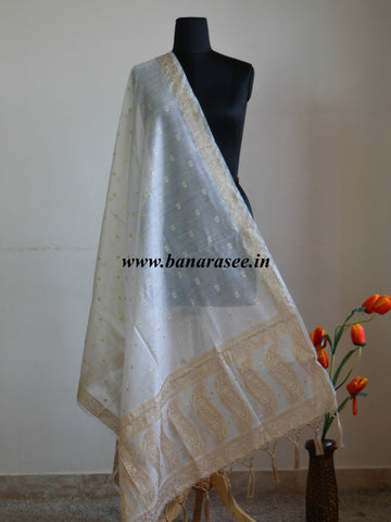 Banarasee/ Banarasi Cotton Dupatta With Resham Woven Buti & Pallu-Off White