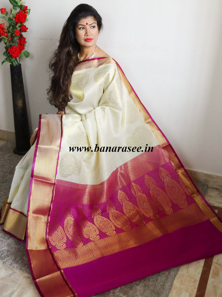 Banarasi/Banarasee Faux Georgette Sari With Magenta Pallu-Off White