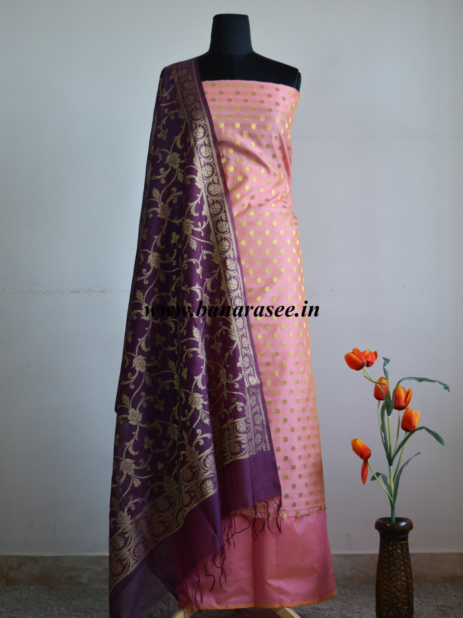 Banarasee Chanderi Cotton Salwar Kameez Zari Polka Dot Buti Design Fabric & Wine Jaal Dupatta-Peach