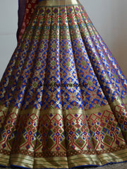 Banarasee/Banarasi Handwoven Art Silk Unstitched Lehenga Blouse & Fabric With Meena Work-Deep Blue