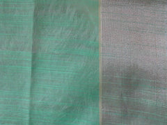 Banarasee/Banarasi Organza Mix Saree With Floral Jaal Design & Zari Border-Green