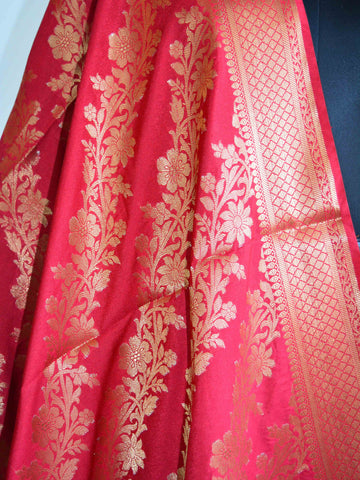 Banarasee Handloom Pure Silk Zari Woven Jaal Dupatta-Red