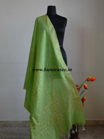 Banarasee/ Banarasi Cotton Silk Mix Zari Work Dupatta-Lime Green
