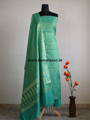 Banarasee/Banarasi Salwar Kameez Cotton Silk Gold Zari Circle Buti Woven Fabric-Green