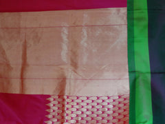 Banarasee/Banarasee Handloom Pure Katan Silk Sari With Drop Design Buti Border-Deep Pink