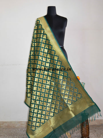 Banarasi Art Silk Dupatta Patola Design-Green