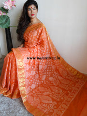 Banarasee/Banarasi Semi Silk Saree With Resham Jaal & Zari Border-Peach