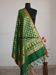 Banarasee Art Silk Dupatta With Zari Buti & Pallu-Deep Green