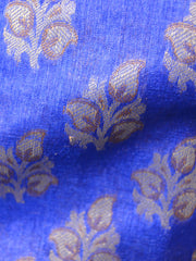 Banarasee/Banarasi Handloom Pure Tussar Silk Salwar Kameez Resham Small Buti Woven Fabric-Royal Blue