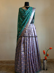 Banarasee/Banarasi Handwoven Brocade Unstitched Lehenga Fabric with Contrast Chiffon Dupatta-Pastel Purple