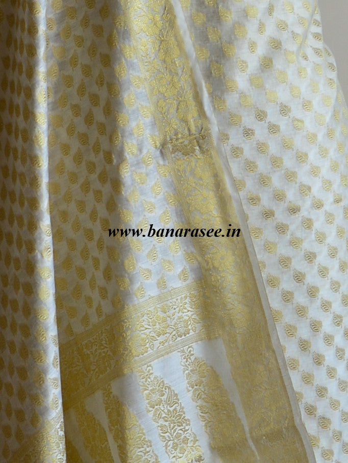 Banarasee/Banarasi Salwar Kameez Cotton Silk Gold Zari Small Buti Woven Fabric-Off White