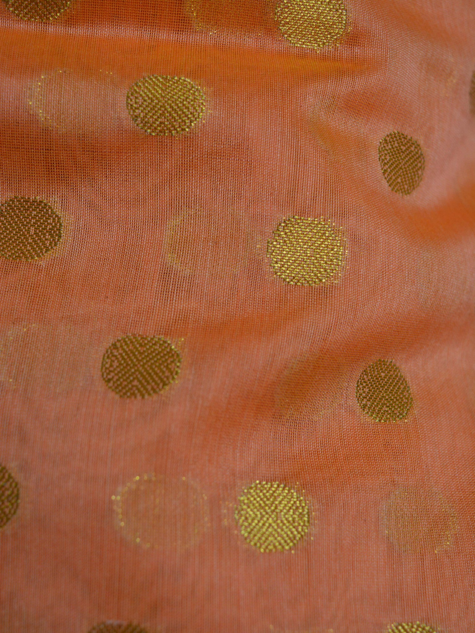 Banarasee Chanderi Cotton Salwar Kameez Zari Polka Dot Buti Design Fabric & Rust Jaal Dupatta-Orange