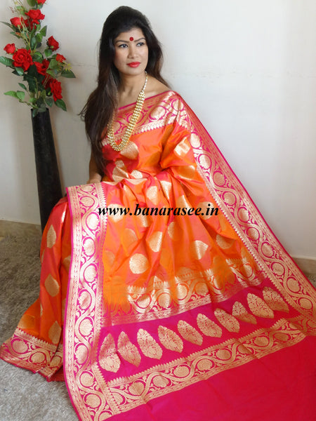 Banarasee Handwoven Georgette Silk Saree With Big Buta and Floral Border Design-Orange(Dual Tone)