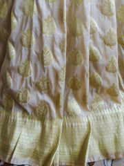 Banarasee/Banarasi Art Silk Sari Half & Half Broad Border-Red(Aanchal) And White(Body)