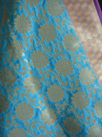 Banarasi Art Silk Dupatta Floral Jaal Design-Mint Green