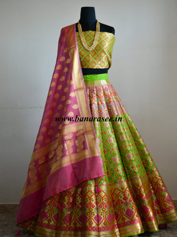 Banarasee Handwoven Art Silk Unstitched Lehenga & Blouse Fabric With Meena Work-Bright Green