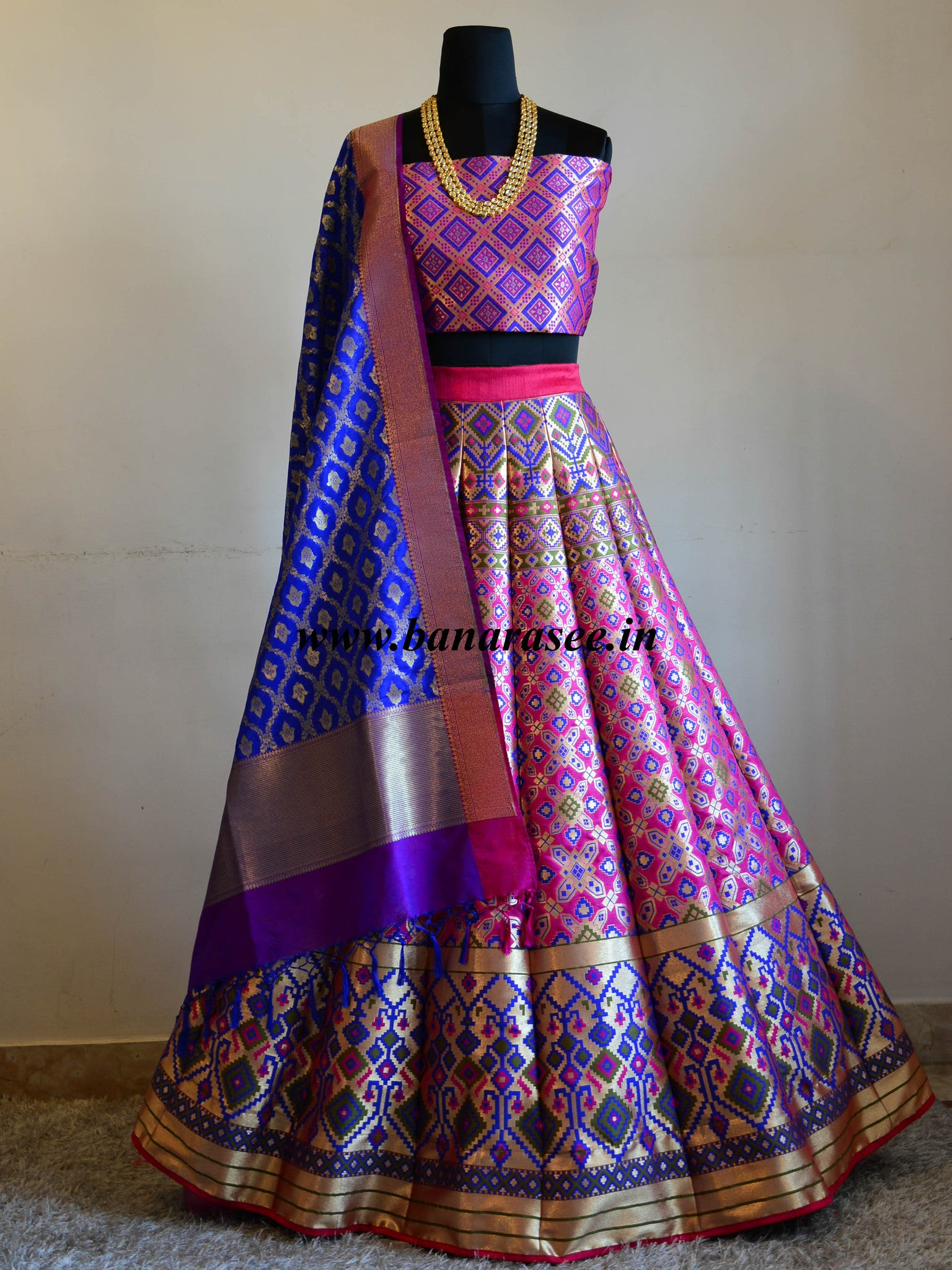 Banarasee Handwoven Art Silk Unstitched Lehenga & Blouse Fabric With Woven Meena Design-Hot Pink
