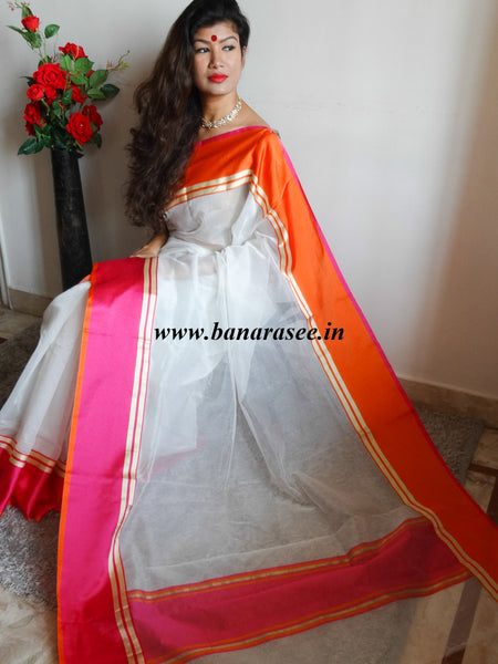 Banarasee/Banarasi Cotton Silk Mix Saree With Ganga Jamuna Satin Border-White