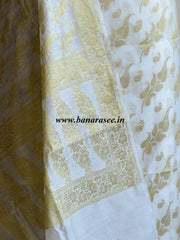 Banarasee/Banarasi Salwar Kameez Cotton Silk Gold Zari Leaf Buti Woven Fabric-Off White