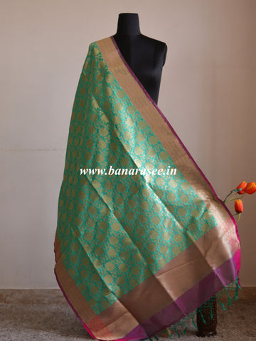 Banarasi Art Silk Dupatta Floral Jaal Design-Sea Green